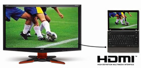 It's easy to share your content on a big screen with the HDMI port