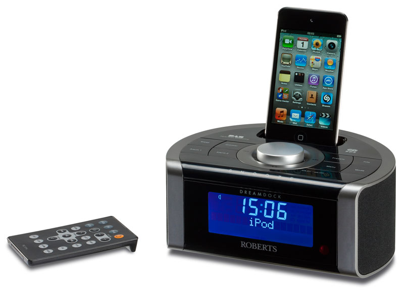 roberts dreamdock dab fm rds digital stereo clock radio with dock for ipod an. Black Bedroom Furniture Sets. Home Design Ideas