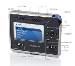 The Intel Reader, easy access to functions and features.