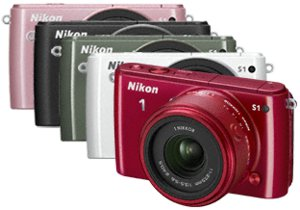 Picture shows all five colour variations of the Nikon 1 S1 camera.