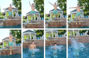 Picture shows a series of photos of a man jumping into a swimming pool.