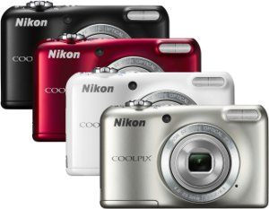 Picture shows all four colour variations of the COOLPIX L27 camera.