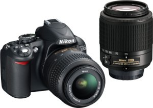 Picture shows the D3100 with the two lenses included in the twin-lens kit.
