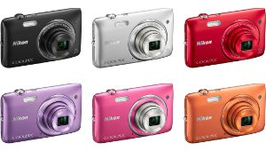 Picture shows the COOLPIX S3500 in the 6 colours available.