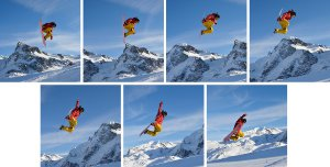 Picture shows seven sequential shots of a snowboarder in action to illustrate the seven frames per second capability.