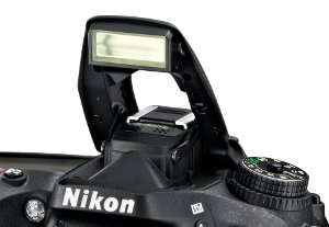 Picture shows the D7100's built in pop-up flash.