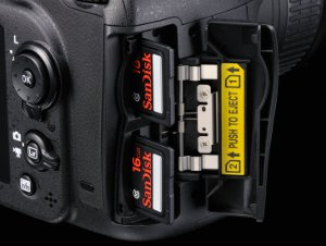 PIcture shows the twin memory card slots.
