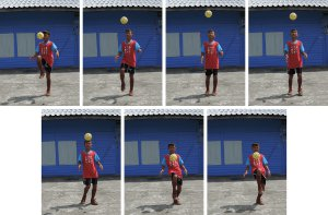 Picture shows 7 consecutive shots of a boy kicking a football to illustrate the 7 frames per second capability.