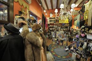 This picture shows the interior of a vintage clothing emporium.