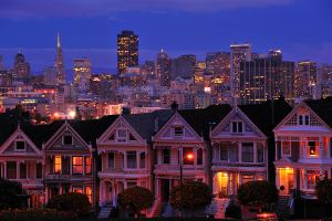 Picture shows a view of the San Francisco skyline taken at dusk.