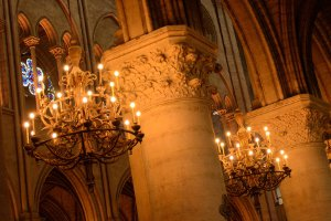 Image of the interior of Notre Dame cathedral in Paris taken using the available light.