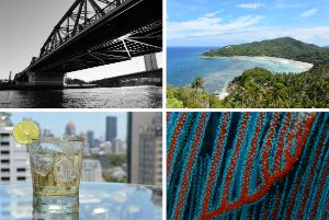 Montage of four different images: Monochrome view of a river bridge; Landscape view of a tropical cove; Close-up view of a cool drink; and Macro view of coral fronds underwater.
