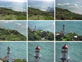 Montage of views of a lighthouse demonstrating the capabilities of the zoom lens.