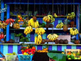 Picture shows a view of a brightly coloured fruit stand that has been altered using the Photo Illustration filter effect.
