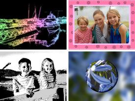 Picture shows a montage of four images demonstrating some of the camera's built-in effects.