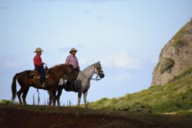 Picture shows two cowboys on horseback on the horizon.