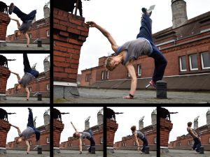 Montage of a sequence of pictures of a ballet dancer.