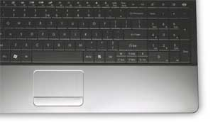 The EasyNote TE includes one-click hotkeys, a large touch pad, and an independent numeric keypad