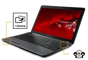 The EasyNote TS features convenient one-click buttons to launch your backup software and favourite social media feeds.