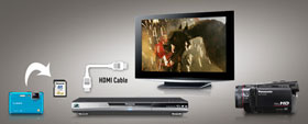 Share pictures and films on your BD player using the featured SD card slot.