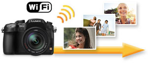 Send pictures over Wi-Fi to upload, save or print