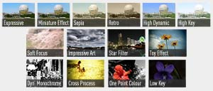 Up to 14 creative filter effects can be selected before taking your shot