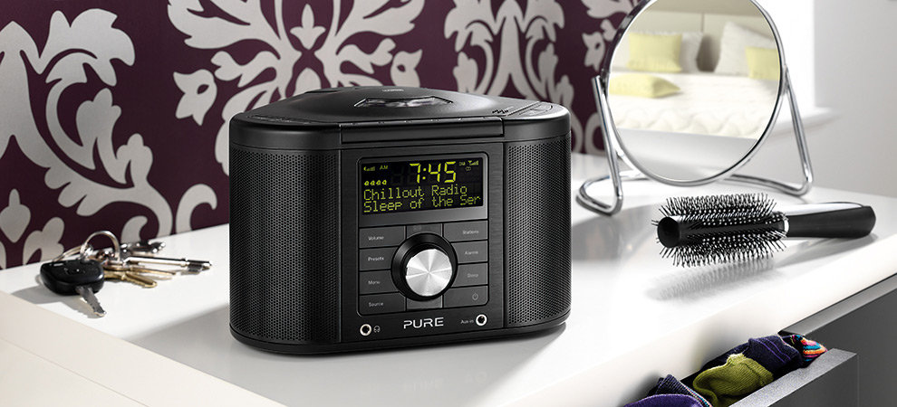 pure chronos cd series ii dab clock radio mains powered lcd display black ebay. Black Bedroom Furniture Sets. Home Design Ideas