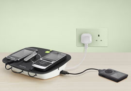 F7C008 Conserve Valet Energy Saving USB Charging Station - Side and Back