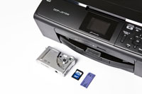 Wireless colour inkjet multifunction printer with media card centre