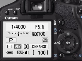 The EOS 450D has all functions within easy reach, next to the bright 2.5-inch screen