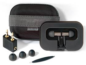 The earphones come with a travel case, cable management holder, additional eartips, an airplane adapter and a cleaning tool