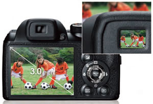 3.0-inch LCD and bright EVF