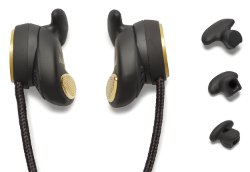 Picture shows the headphones alongside the exchangeable silicone earpads that can be fitted to accomodate different sized ears.