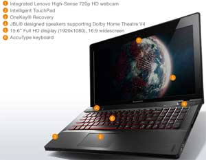 See some of the features available on the Lenovo IdeaPad Y500