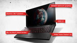 The high-performance Lenovo Y500 comes with a striking premium brushed-metal finish