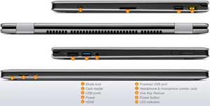 See some of the connectivity options available on the Lenovo IdeaPad Yoga 13.