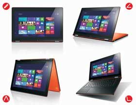 Simply flip the screen to choose one of the four available modes: Notebook, Tent, Tablet or Stand.