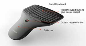 The optional wireless multimedia remote with mini-keyboard and mouse allows you to control the Q180 in comfort