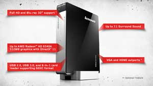 An incredibly small desktop PC, the IdeaCentre Q180 is the perfect companion to any HDTV