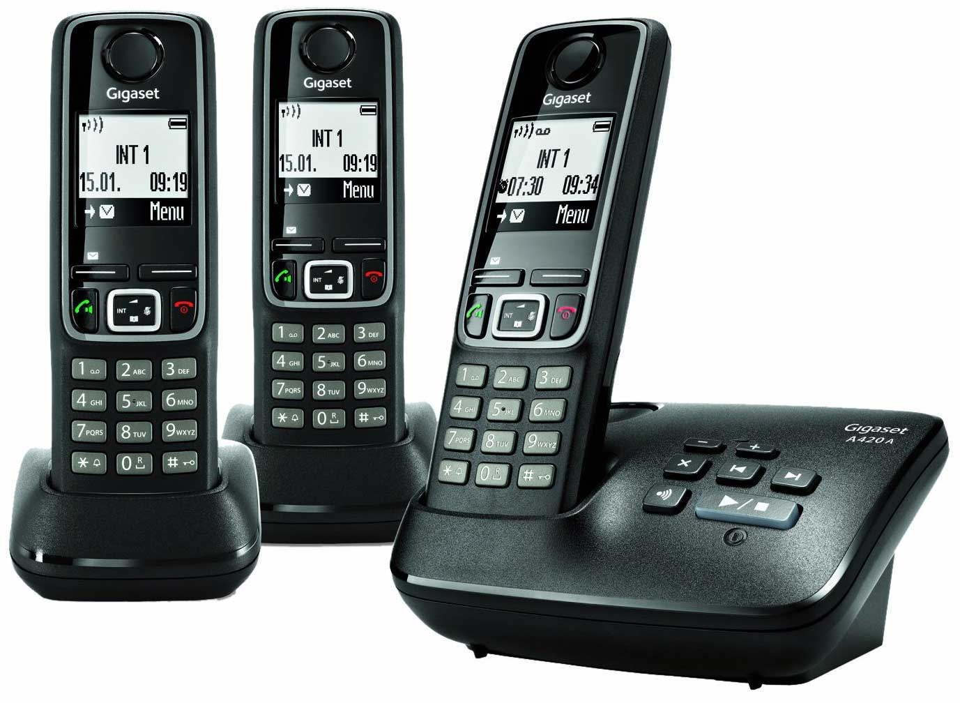 gigaset a420a trio dect cordless phone with answer amazon. Black Bedroom Furniture Sets. Home Design Ideas
