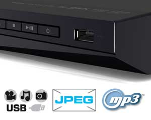 The convenient USB port allows you to enjoy MP3s and JPEG photos on your HDTV