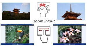 Touchpad movement examples, including scroll and zoom