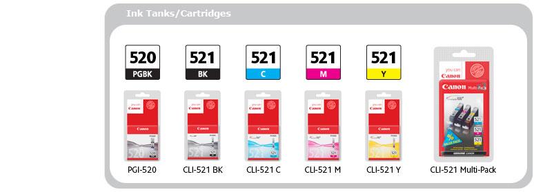 Ink Tanks/Cartridges: PGI-520 PGBK, CLI-521 BK, CLI-521 C, CLI-521 M, CLI-521 Y, CLI-521 Multi-Pack