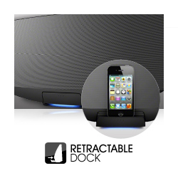 Retractable dock for slick finish when streaming via Bluetooth