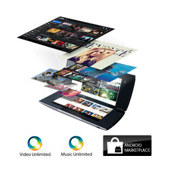 Sony Entertainment Network, Reader Store and Android Marketplace gives access to millions of songs and books, thousands of apps and latest movies.