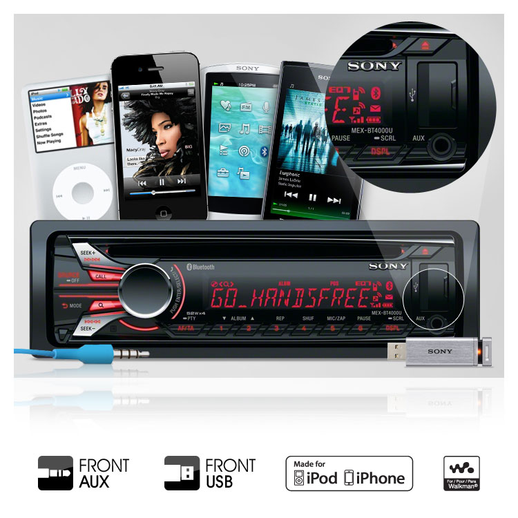 sony mexbtu variable illumination bluetooth in car cd receiver front usb for direct control of connected ipod iphone or walkman plus playback compatible usb drives