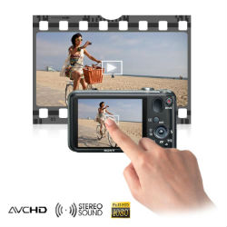One touch recording of smooth 1080i Full HD video with stereo sound in AVCHD or MP4 formats.