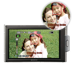 Press the icon and Smile Shutter makes catching smiles easy
