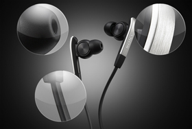 Hybrid silicone ear buds and brushed metal fascias combine comfort with style