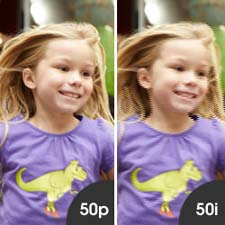 Shoot smoother, sharper fast action footage in 50p mode.